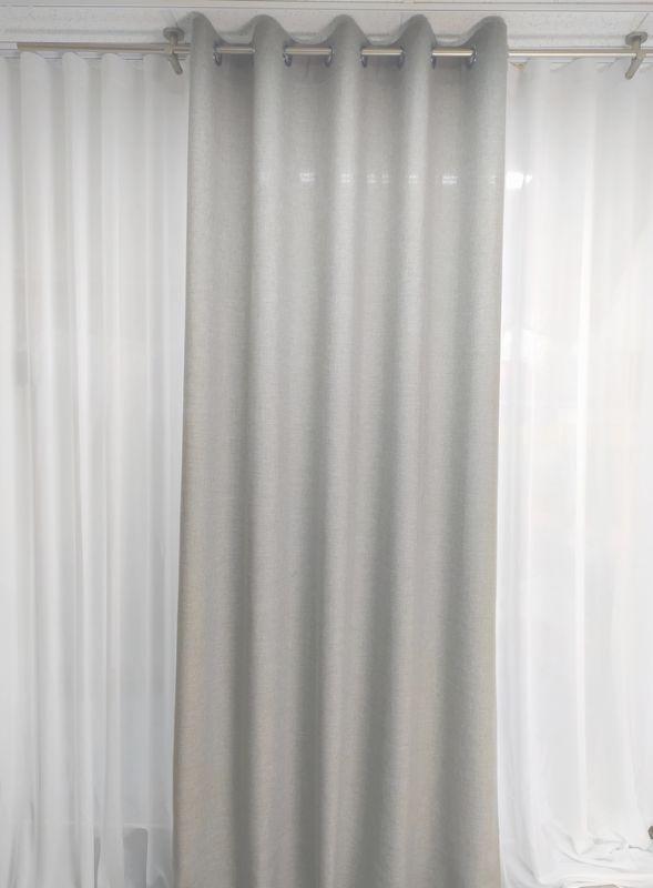 Штора на люверсах ANHA, сіра рогожка