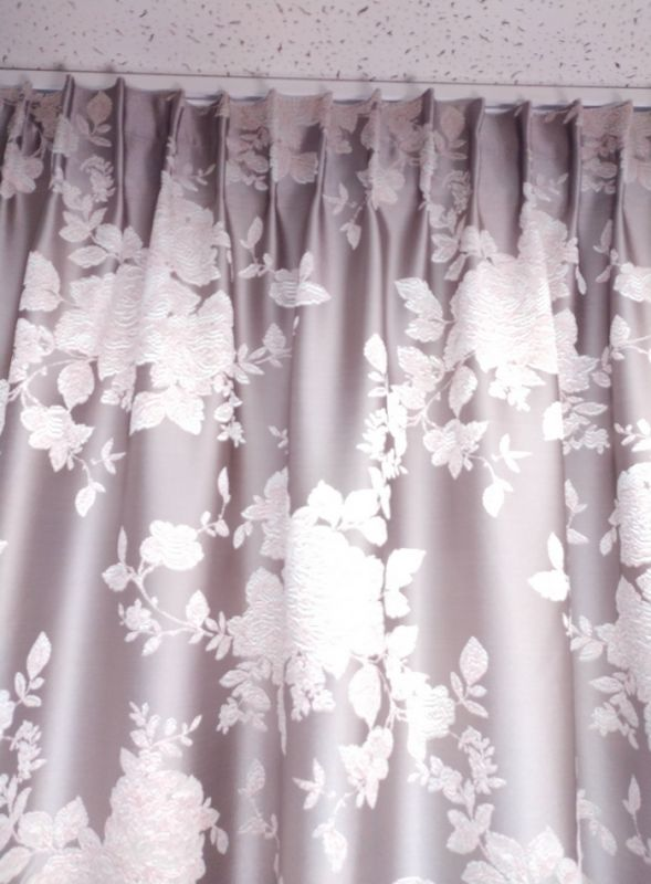 Штора на тесьме MUSQUIDA, серо-розовая