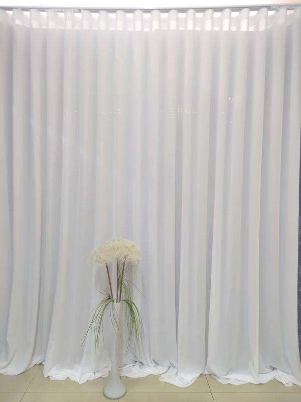 Білий тюль креп Андромеда на тасьмі Волна